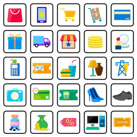 shopping online icon set Illustration