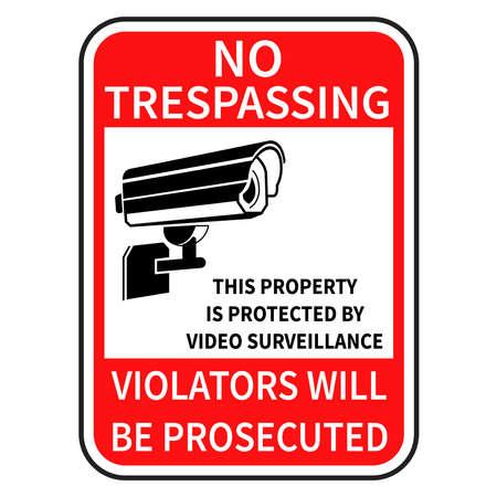 no trespassing sign of camera security Illustration