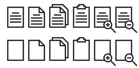 paper icon set with conditional applications Ilustración de vector