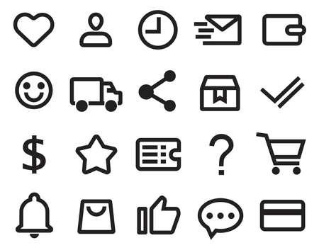 outline shopping icon set