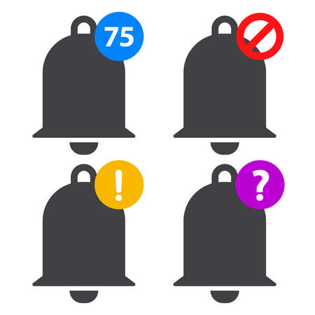 bell notification icon set Illustration