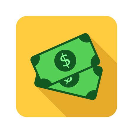 dollars money flat icon 向量圖像