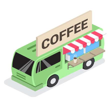 coffee van icon isometric 向量圖像