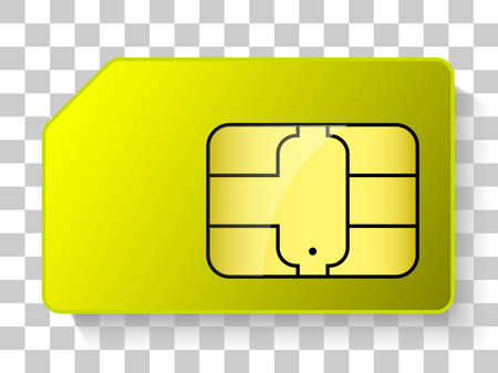 yellow sim card realistic object 向量圖像