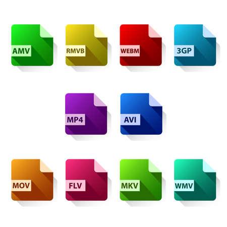 video format icon set
