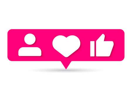 sosial media notification like love Illustration