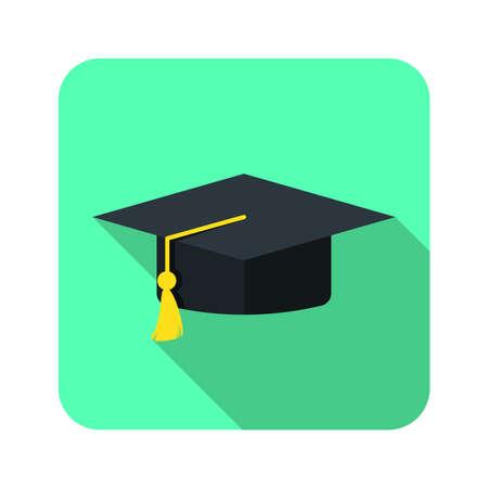 graduation hat flat icon