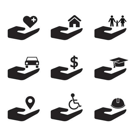 insurance protection icon set