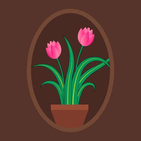 lyly flower on the pot 向量圖像