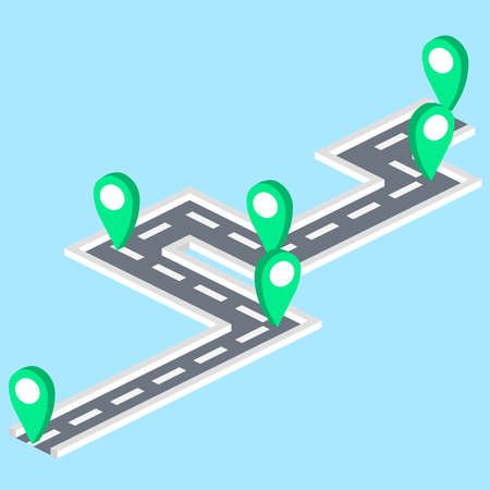 gps route tracking isometric 向量圖像