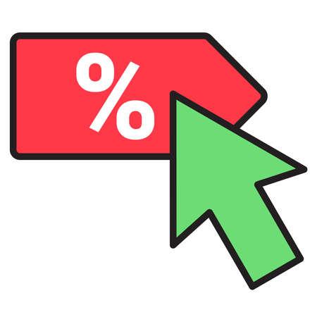 click to get discount label percentage symbol