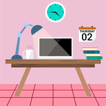 working desk vector illustrative