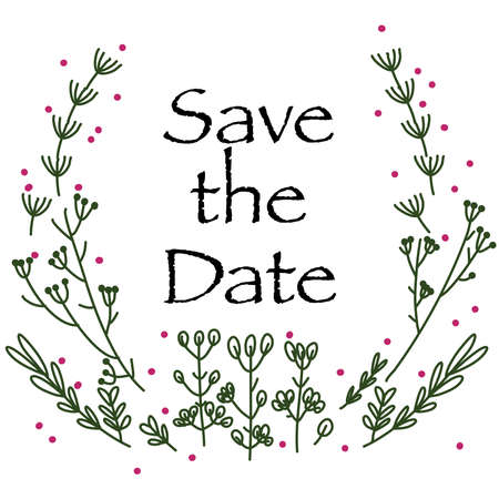 Green line art frame save the date