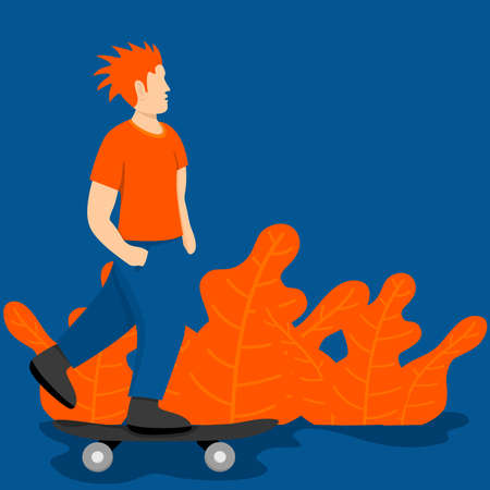man playing skateboard illustration Ilustracja