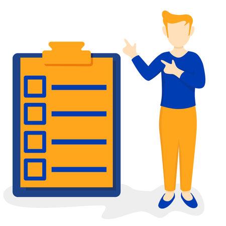 man presentation from schedule list checkbox Ilustracja