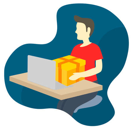 man send package box from laptop device
