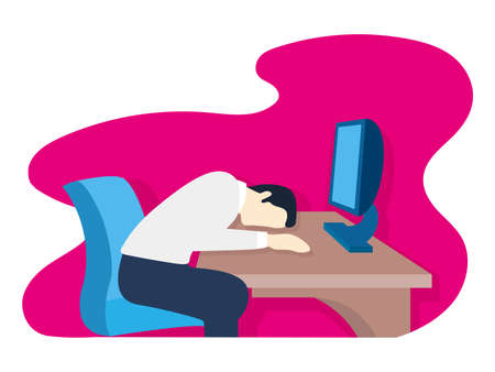 worker asleep on the desk