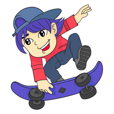boy jump playing skateboard cartoon