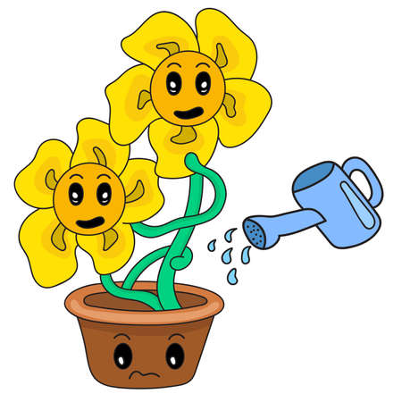 cartoon illustration of a sunflower being watered with water 矢量图像