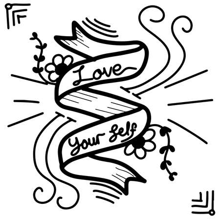 love yourself text quote decoration Ilustracja