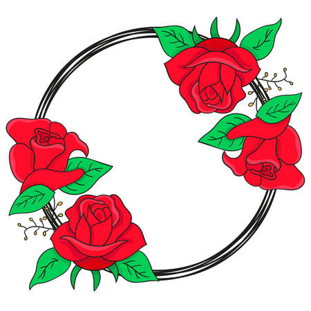 rose flowers rounded borders frame