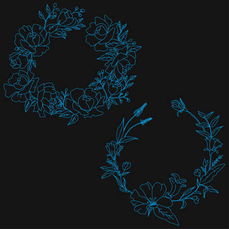 blue roses line art borders decoration template