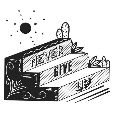 Never give up text. Encourage Quotes Design hand drawing Ilustracja