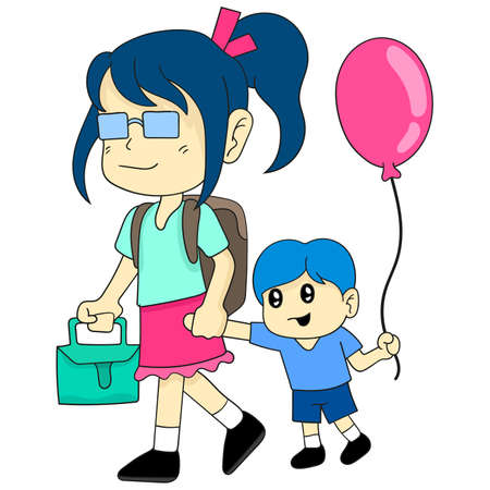 her older sister and younger brother were going to school together. cartoon illustration cute sticker 向量圖像