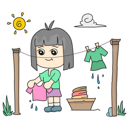 a woman is drying clothes in the hot sun. cartoon illustration sticker emoticon Vetores