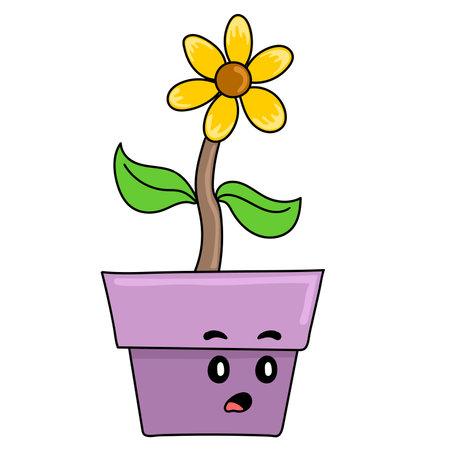 sunflower plants thrive in pots. cartoon illustration sticker emoticon Vector Illustration