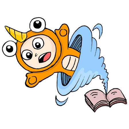 cute creatures appear from the fantasy book. cartoon illustration sticker emoticon