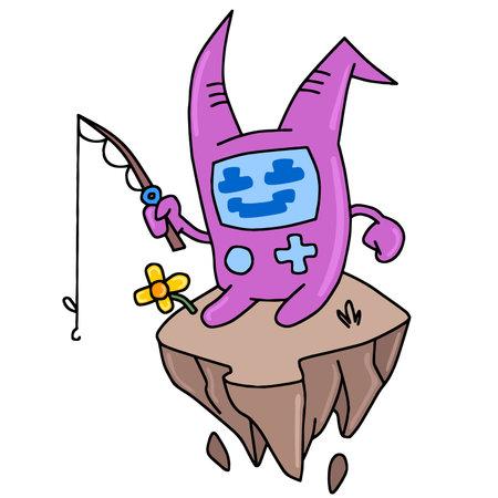 cute cartoon sitting holding a fishing rod. cartoon illustration sticker mascot emoticon Ilustrace