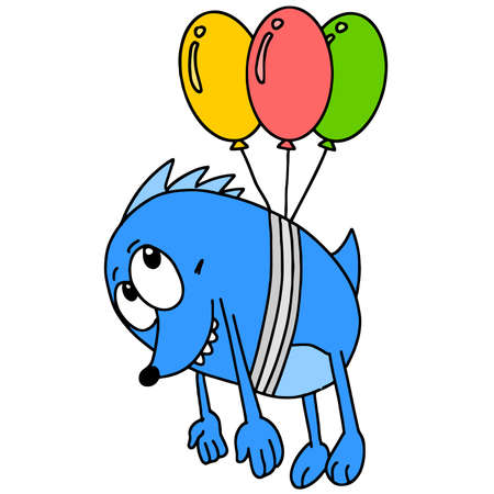 a monster tied with a balloon carried away flying. cartoon illustration sticker mascot emoticon