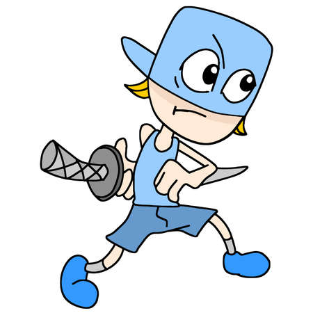 a child wearing a samurai costume acting would cut. cartoon illustration sticker mascot emoticon