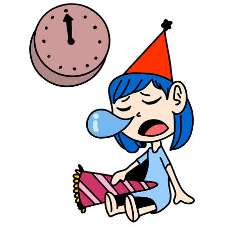 little girl fell asleep while waiting for the turn of the new year. cartoon illustration sticker mascot emoticon