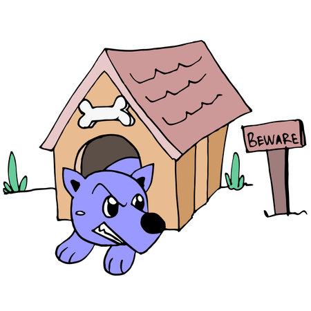 fierce pet dog is being locked up. cartoon illustration sticker mascot emoticon