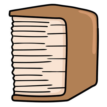 a very thick book of knowledge. cartoon caharacter cute doodle draw