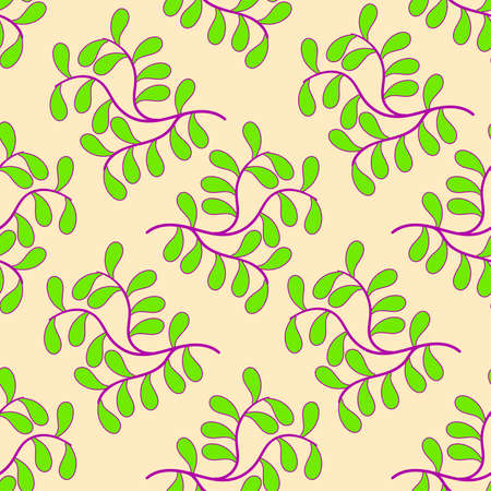 colourful plant branches seamless background print. Great for summer vintage fabric, scrapbooking, wallpaper, giftwrap. repeat pattern background design Ilustrace
