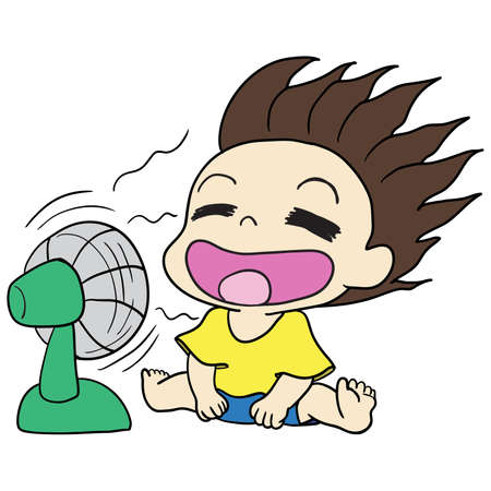 toddler playing with the fan. asterisk kawaii doodle image. doodle icon image