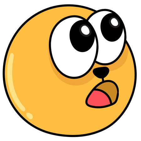 emoji ball with a face being amazed in awe, doodle kawaii. doodle icon image. cartoon caharacter cute doodle draw