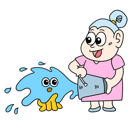 a middle aged woman is bathing a cat with water, doodle icon image. cartoon caharacter cute doodle draw