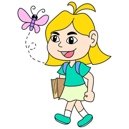 the blonde haired woman was walking towards the school, character cute doodle draw. vector illustration