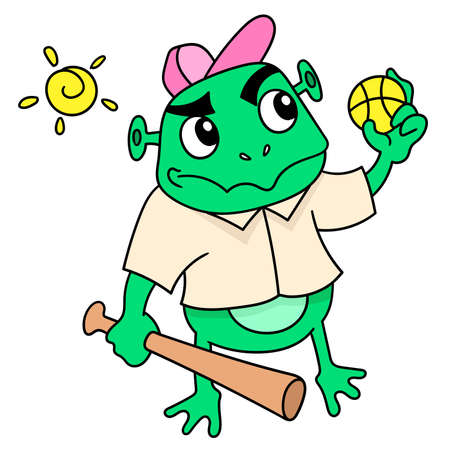 frogs carry balls and sticks to play baseball, doodle draw kawaii. vector illustration art