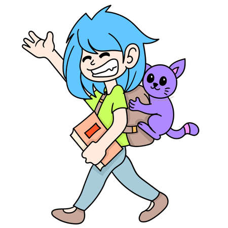 student young woman carrying books to school with her pet cat, doodle draw kawaii. vector illustration art