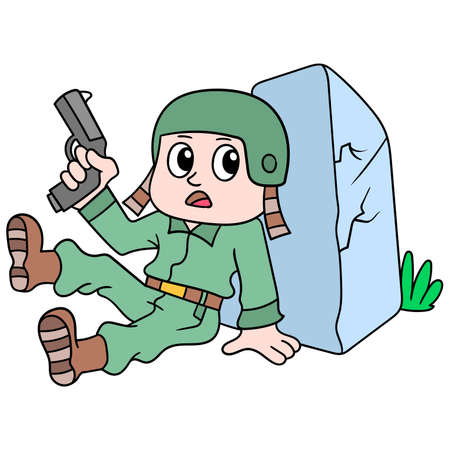 soldiers are at war carrying pistols behind rocks, vector illustration art. doodle icon image kawaii.
