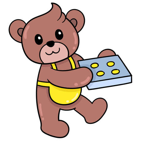A cute teddy bear is carrying a baking sheet filled with cooked cakes, vector illustration art. doodle icon image kawaii.