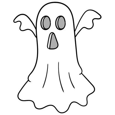 white cloth flying terrifying spooky ghost, vector illustration art. doodle icon image kawaii.