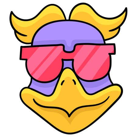 bird head wearing cool stylish glasses, vector illustration carton emoticon. doodle icon drawing