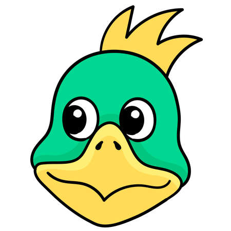 cute duck head with a confused expression, vector illustration carton emoticon. doodle icon drawing 向量圖像