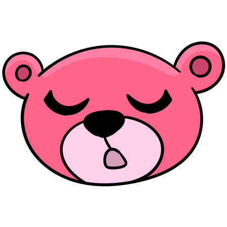 bear head pink eyes closed sleep, vector illustration carton emoticon. doodle icon drawing